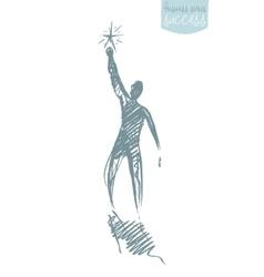 Drawn person star leadership concept sketch vector