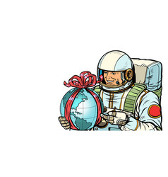 earth day concept astronaut with a gift isolate vector image