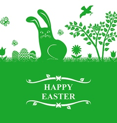 Easter bunny greeting green vector