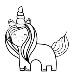 figure beautiful unicorn with horn and mane long vector image