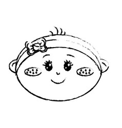 Figure cute baby girl face with ribbon bow in the vector
