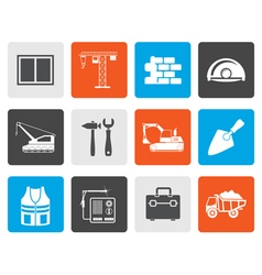 Flat building and construction icons vector image
