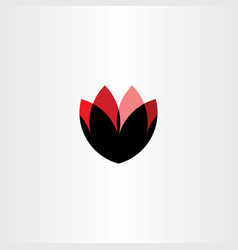 flower abstract symbol black red logo icon vector image