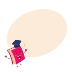 Funny book character in graduation cap showing vector