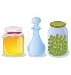 Glass jars and decanter vector