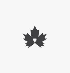 Glass wine maple on white background creative icon vector