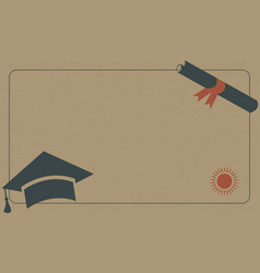 graduation diploma and cap on paper background vector image