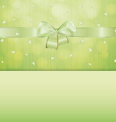 green gift card with ribbon and confetti vector image