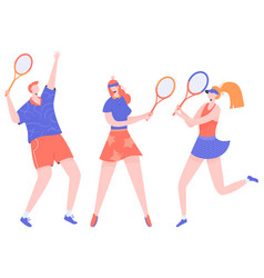 Group athletes tennis players vector