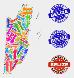 hand collage belize map and grunge handmade vector image