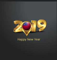Happy new year 2019 golden typography with samoa vector