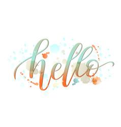 hello lettering handwritten vector image