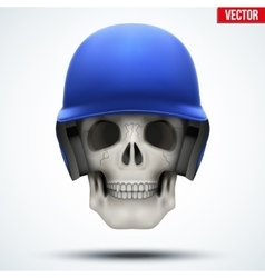 Human skull with baseball helmet vector image