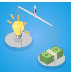 Idea and money balanced on libra vector image