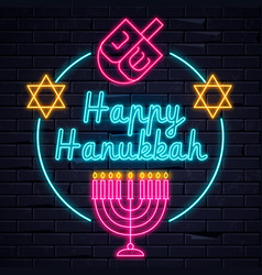 illuminated neon signs happy hanukkah vector image