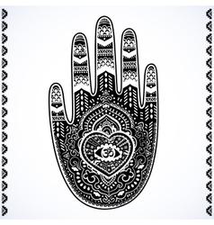 Indian hand drawn hamsa symbol ornament vector