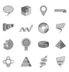 Infographic design icons set monochrome style vector