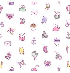 kids doodle pattern vector image