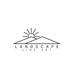 landscape line art logo design template vector image