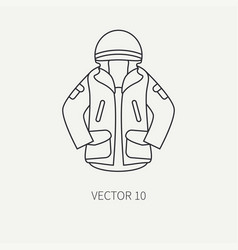 line flat hunt and camping icon khaki vector image