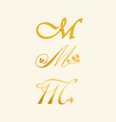 m letter in calligraphy style vector image
