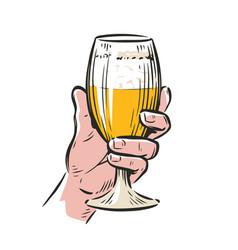 male hand holding a beer glass drink vector image