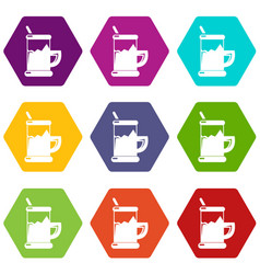 metal glass cup tea icons set 9 vector image