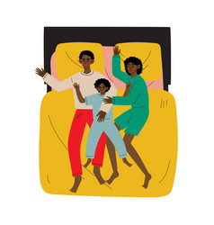 mother father and son sleeping together in bed vector image