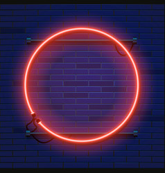 neon lamp circle frame on brick wall background vector image