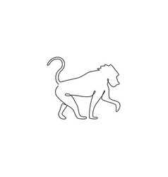 One single line drawing baboon for company vector