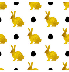 pattern with golden rabbits and eggs vector image