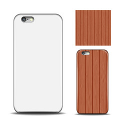 Phone cover reverse side of smartphone wood vector