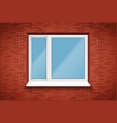 pvc window in brick wall vector image
