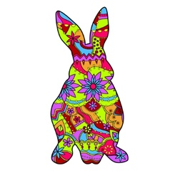rabbit in easter colors vector image vector image
