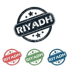 Round Riyadh city stamp set vector