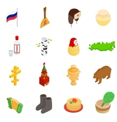 Russia isometric 3d icons vector image