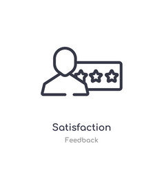 Satisfaction outline icon isolated line from vector