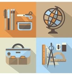 School items icon set vector image