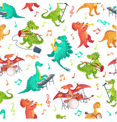 seamless cartoon music dinosaurs pattern dino vector image