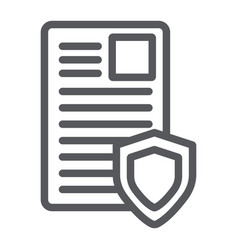 Security document line icon privacy and paper vector
