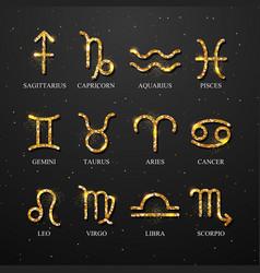 Set astrology golden zodiac signs vector