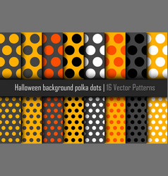 set of patterns halloween polka dots vector image