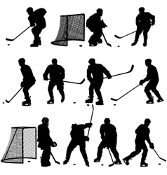 Set of silhouettes of hockey player Isolated on vector image