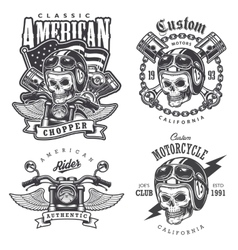 Set vintage motorcycle t-shirt prints vector