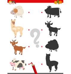 Shadow game with funny farm animal characters vector