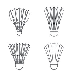 shuttlecock equipment icon set outline style vector image