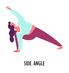 Side angle pose yoga asana or position sport or vector
