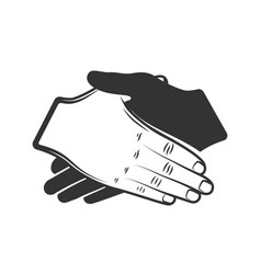 silhouette handshake isolated on white background vector image
