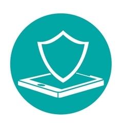 smartphone shield server banner icon vector image