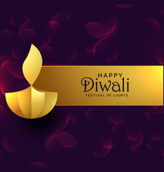 stylish golden diwali diya creative design vector image